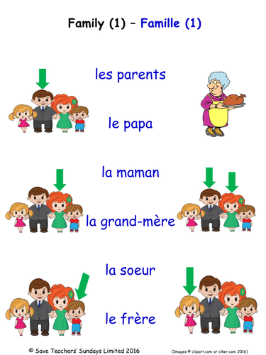 family in french activities 4 pages covering 24 french family words by saveteacherssundays. Black Bedroom Furniture Sets. Home Design Ideas