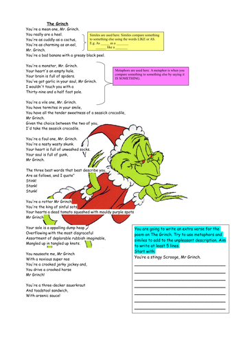 The Grinch Christmas Poetry Lesson
