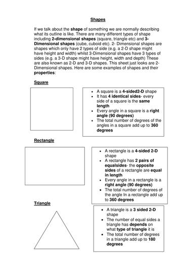 2-D Shapes Revision