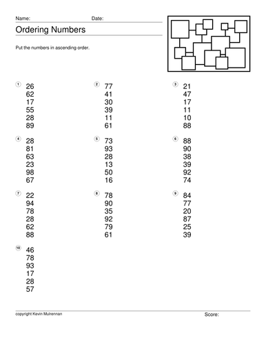 Number Order 100 Worksheets with Answers Maths Mathematics KS1