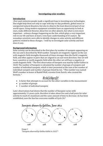 Exemplar of a Physics Lab report using secondary data