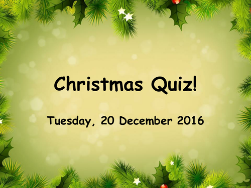 Full Christmas Quiz, (High Level Chemistry as Main Component), PPT, W/S,  Q+A, and Excel