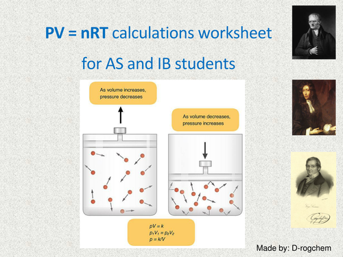 Chemistry: pV = nRT - ideal gas equation and problems for AS and IB students