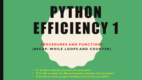 Python Efficiency - Procedures and Functions Introduction