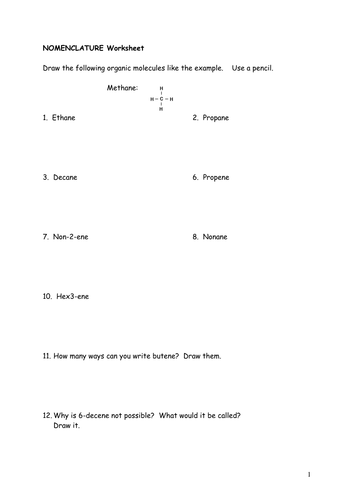 Worksheets Organic Chemistry Nomenclature Worksheet a level organic chemistry naming molecules worksheet inc answers by drandymorris teaching resources tes