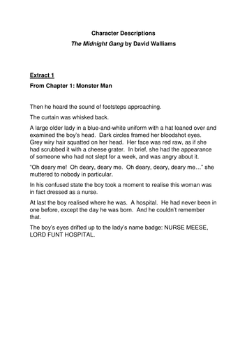 Character Descriptions from The Midnight Gang by David Walliams