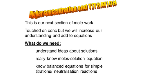 NEW GCSE AQA/OCR linked work on MOLES and concentration and titration work
