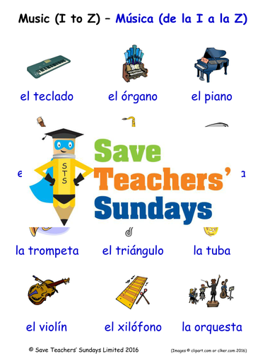 Musical Instruments in Spanish Worksheets, Games, Activities and Flash Cards (with audio) (2)
