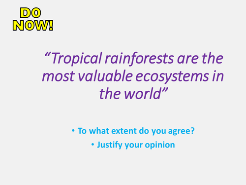 New AQA GCSE The Living World- Tropical Rainforests Lesson #7