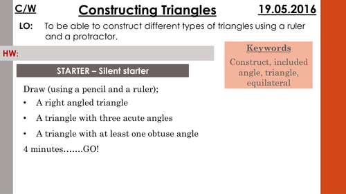 Constructing ASA and SAS triangles
