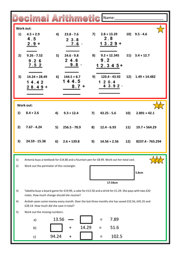 decimal addition and subtraction worksheet by prof  teaching  decimal addition and subtraction worksheet by prof  teaching resources   tes