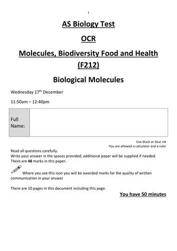 2.1.2 Biological Molecules TESTS