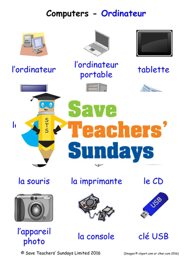 Computers in French Worksheets, Games, Activities and Flash Cards (with audio)