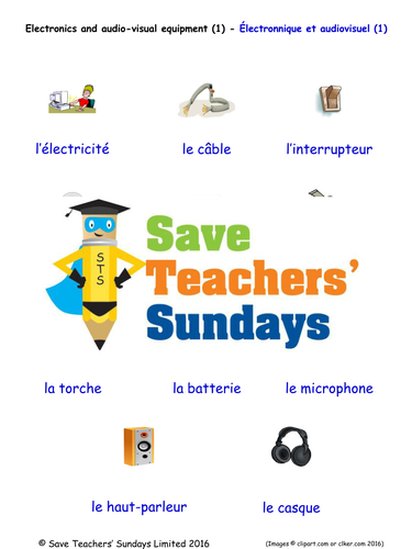 Electronics & Audio Visual Equipment in French Worksheets, Games & More (with audio) (1)
