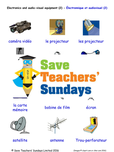 Electronics & Audio Visual Equipment in French Worksheets, Games & More (with audio) (2)