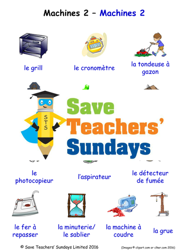 Machines in French Worksheets, Games, Activities and Flash Cards (with audio) (2)