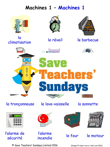 Machines in French Worksheets, Games, Activities and Flash Cards (with audio) (1)