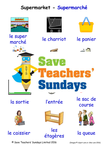 Supermarket in French Worksheets, Games, Activities and Flash Cards (with  audio)