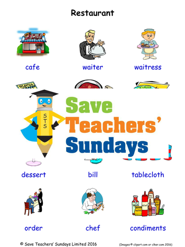 Restaurant EAL/ESL Worksheets, Games, Activities and Flash Cards (with audio)