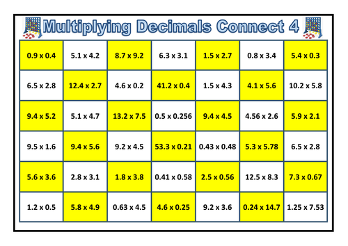 Decimal Multiplication Connect 4