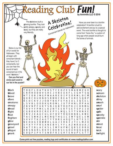 Halloween Consonant Blends Word Search Puzzle by
