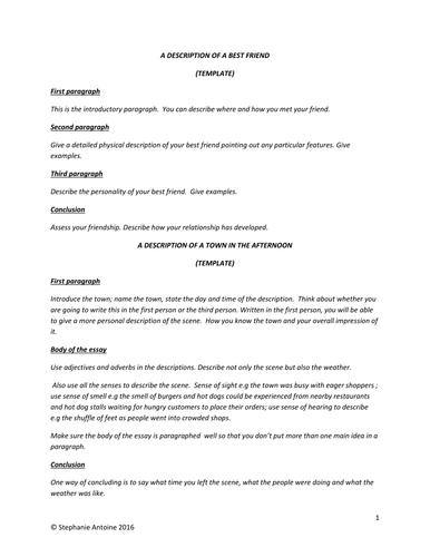 Descriptions templates
