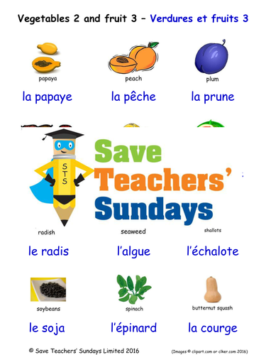 Fruits 3 and Vegetables 2 in French Worksheets, Games, Activities and Flash Cards (with audio)