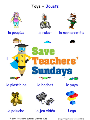 Toys in French Worksheets, Games, Activities and Flash Cards (with audio)