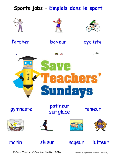 Sports Jobs in French Worksheets, Games, Activities and Flash Cards (with audio)