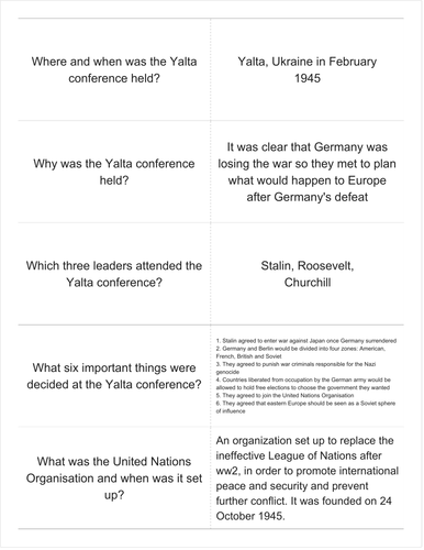 GCSE History Revision The Cold War Key Questions