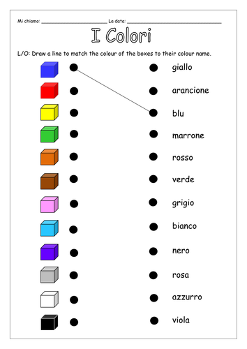 ITALIAN - An Introduction to Colours - Worksheets by ...
