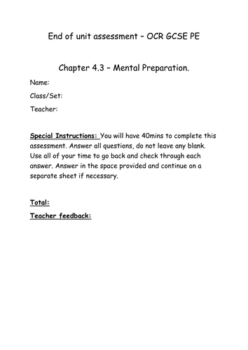 Chapter 4.3 Mental preparation chapter assessment and mark scheme for OCR GCSE PE 2016 spec