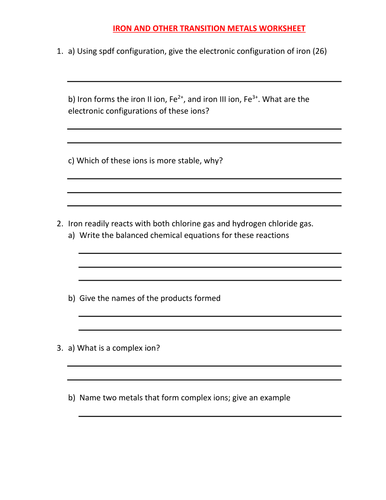 Worksheets Naming Transition Metals Worksheet With Answers iron and transition metals worksheet with answers by kunletosin246 teaching resources tes
