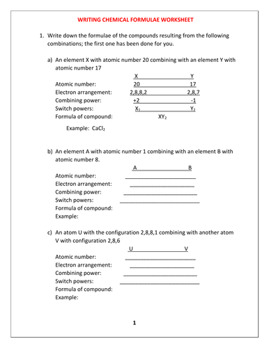 CHEMICAL FORMULA WORKSHEET WITH ANSWERS by kunletosin246 ...
