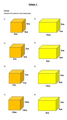 Calculating Volume Worksheet (Year 6)