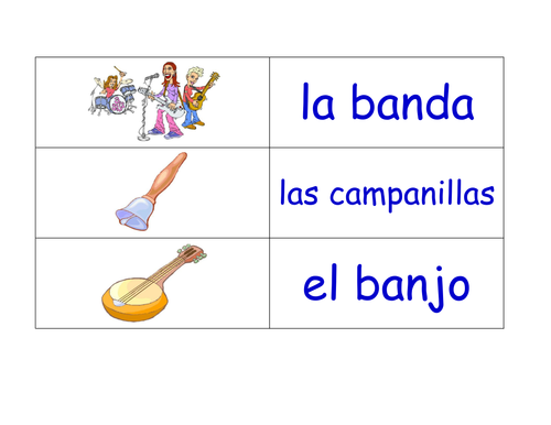 Music in Spanish Flashcards (24 Spanish Flash Cards on the Topic of Music)