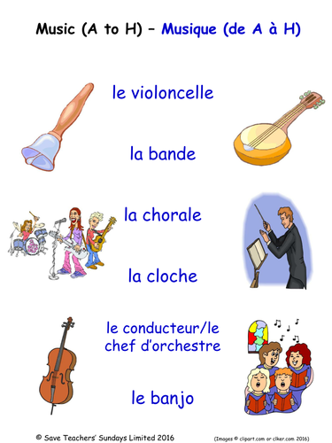 Music in French Activities (4 pages covering 24 French music-related words)