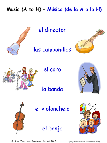 Music in Spanish Activities (4 pages covering 24 Spanish music-related words)