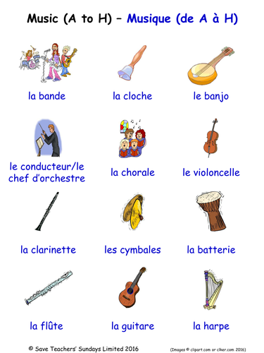 Musical Instruments in French Word Searches (2 Wordsearches)