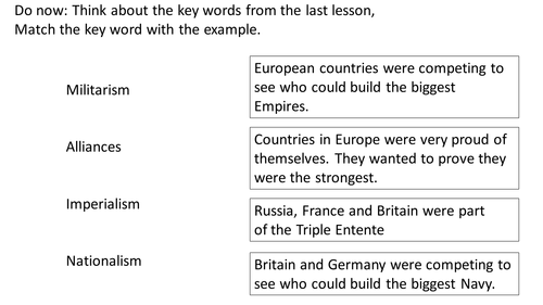 *Full Lesson* Short Term Causes of the First World War
