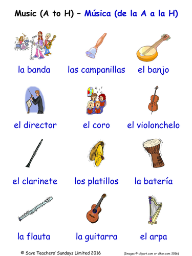 Musical Instruments in Spanish Word Searches (2 Wordsearches)