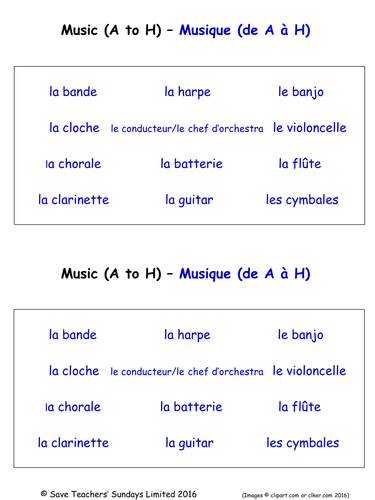 Musical Instruments in French Worksheets (2 Labelling Worksheets)