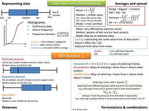 MEI Statistics 1 on a page