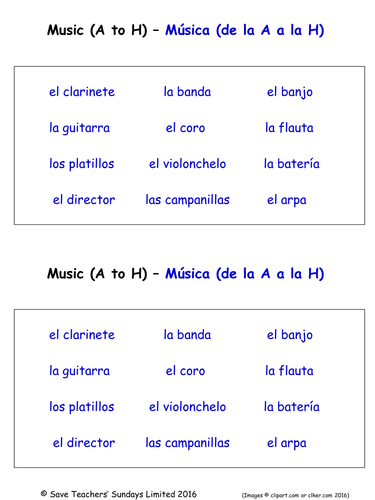 musical instruments in spanish worksheets 2 labelling worksheets by saveteacherssundays. Black Bedroom Furniture Sets. Home Design Ideas