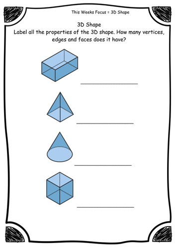 Year 2 - 3D Shape - Properties - Faces, Edges, Vertices - Worksheets -  Differentiated - Editable