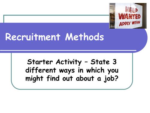 Methods of Recruitment  - GCSE Business
