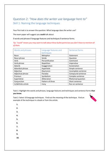 AQA English Language Paper 1 Question 2