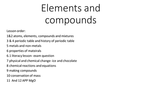 Rebeccamtimmss shop teaching resources tes ks3 elements and compounds lessons urtaz Gallery