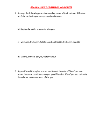 GRAHAMS LAW OF DIFFUSION WORKSHEET WITH ANSWERS