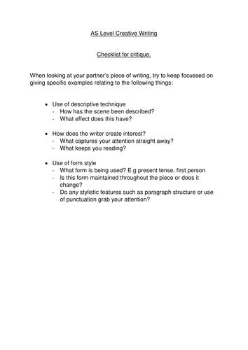 AS Level Creative Writing Critique checklist